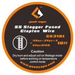 Stagger fused clapton SS316 (26ga+32ga)x2+32ga 3m
